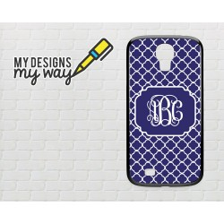 Personalised Monogram Blue Vine Pattern Samsung Galaxy Case (Black)