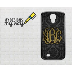 Personalised Monogram Black Vine Pattern Samsung Galaxy Case (Black)