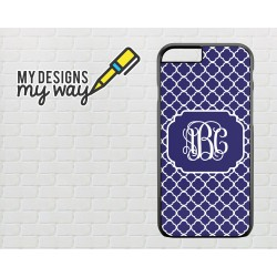Personalised Monogram Blue Vine Pattern iPhone Case (Black)
