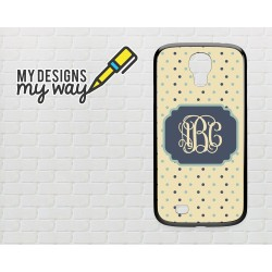 Personalised Monogram Polka Dot Pattern Samsung Galaxy Case (Black)