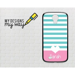 Personalised Monogram Pastel Love Heart Pattern Samsung Galaxy Case (Black)