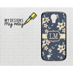 Personalised Monogram Pastel Flowers 2 Pattern Samsung Galaxy Case (Black)