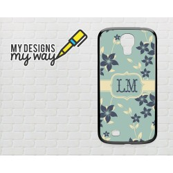 Persoanlized Monogram Pastel Flowers Pattern Samsung Galaxy Case (Black)