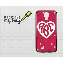 Personalised Monogram Love Heart Pattern Samsung Galaxy Case (Black)
