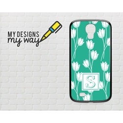 Personalised Monogram Green & White Flower Pattern Samsung Galaxy Case (Black)