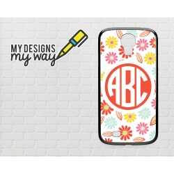 Personalised Monogram White Flower Pattern Samsung Galaxy Case (Black)