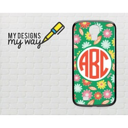 Personalised Monogram Green Flower Pattern Samsung Galaxy Case (Black)