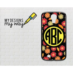 Personalised Monogram Black Flower Pattern Samsung Galaxy Case (Black)