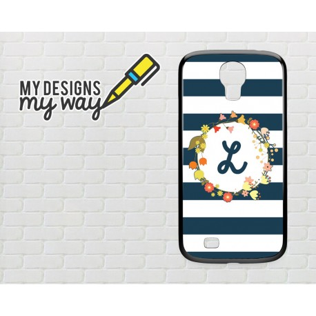 reputable site 46968 adc56 Personalised Monogram Floral Frame Pattern Samsung Galaxy Case (Black)
