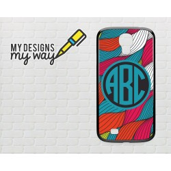 Personalised Monogram Colour Blast Pattern  Samsung Galaxy Case (Black)
