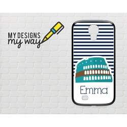 Personalised Monogram Rome Italy Pattern Samsung Galaxy Case (Black)