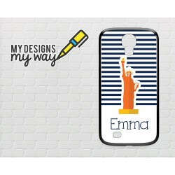 Personalised Monogram New York City Statue of Liberty Pattern Samsung Galaxy Case (Black)