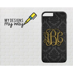 Personalised Monogram Black Vine Pattern iPhone Case (Black)