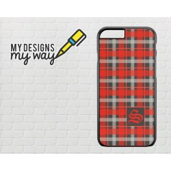 Personalised Monogram Scottish Tartan Pattern iPhone Case (Black)