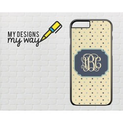 Personalised Monogram Polka Dot Pattern iPhone Case (Black)