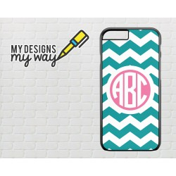 Personalised Monogram Nautical Chevron Pattern iPhone Case (Black)