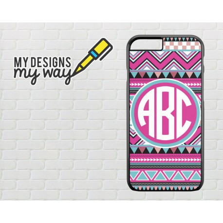 Monogram Aztec Pattern - Personalise Your Name - iPhone Case (Black)