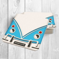 Camper Van Personalised Coaster (Blue)